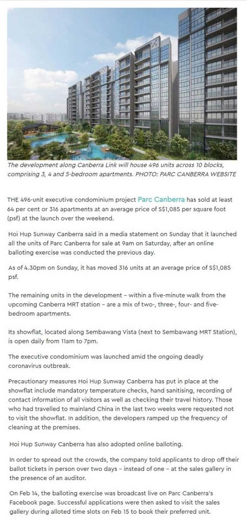 Parc-Central-Residences-news-Parc-Canberra-EC-sold-496-units-report-by-SRX